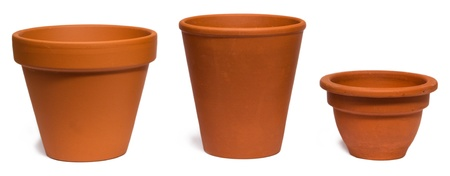 17414491 - empty clay plant pots isolated on white background